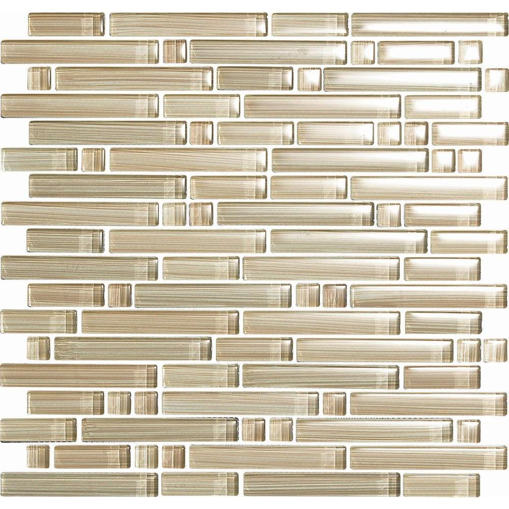 null Brushstrokes Chiarro S Strips Mosaic Glass Mesh Mounted - 2 in. x 12 in. Tile Sample
