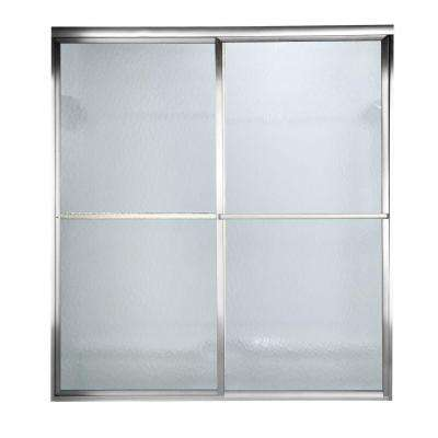 56 in. to 60 in. x 71.5 in. Opening Prestige Framed Bypass Shower Door in Silver with Hammered Glass