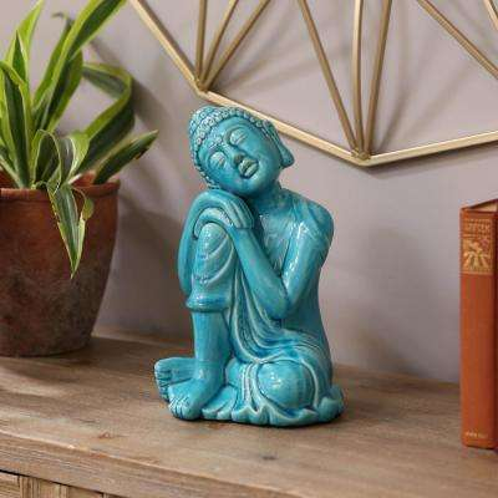 10.25 in. H Buddha Decorative Figurine in Blue Gloss Finish