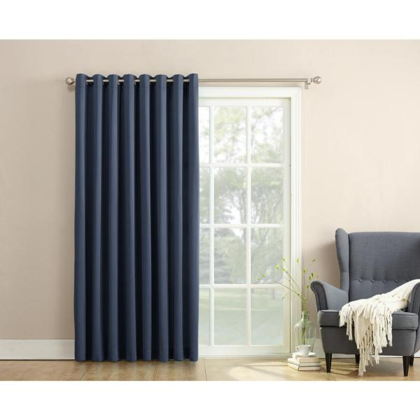 Semi-Opaque Gregory 100 in. by 84 in. Solid Window Patio Panel, Navy