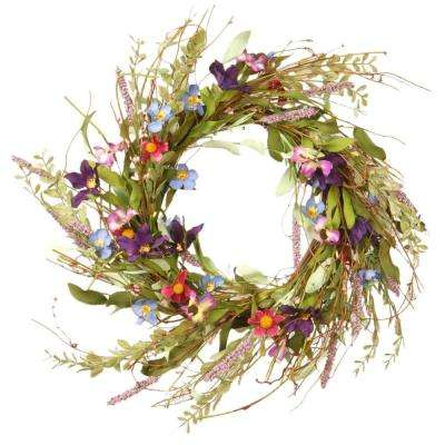 20 in. Mixed Flowers Blue/Purple/Pink Floral Wreath Decor