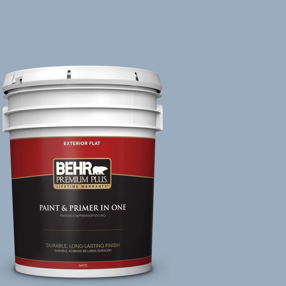 BEHR Premium Plus 5-gal. #S510-3 Ombre Blue Flat Exterior Paint