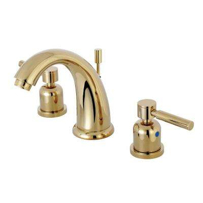 8 in. Widespread 2-Handle Mid-Arc Bathroom Faucet in Polished Brass