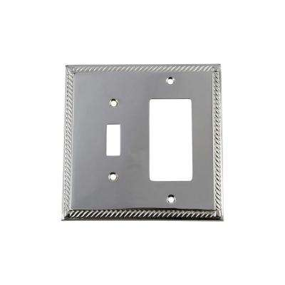 Rope Switch Plate with Toggle and Rocker in Bright Chrome