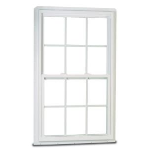 32 in. x 36 in. 70 Series Single Hung Fin LS Vinyl Window with Grilles - White