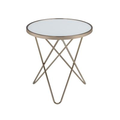 Venetian Worldwide Valora Gold With Frosted Glass End Table Va 81827 The Home Depot