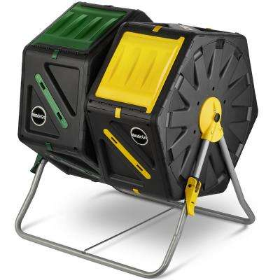 Miracle-Gro Dual Chamber Compost Tumbler (2 x 18.5 Gal./70 L) Outdoor Bin w/ Easy-Turn System Gardening Gloves Included