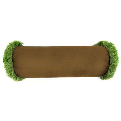 Sunbrella 7 in. x 20 in. Canvas Teak Bolster Outdoor Pillow with Gingko Fringe