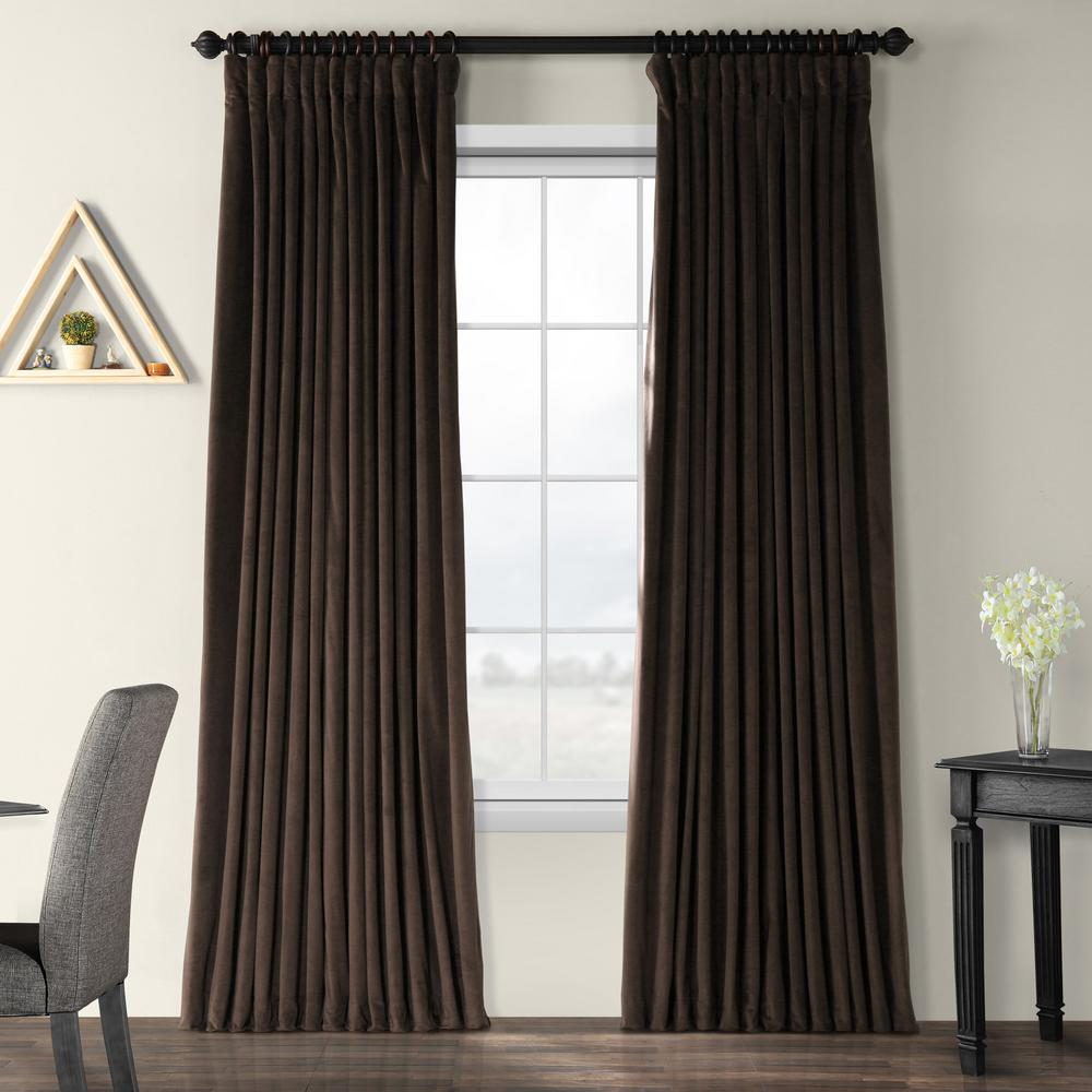 Exclusive Fabrics & Furnishings Blackout Signature Java Doublewide Blackout Velvet Curtain - 100 in. W x 120 in. L (1 Panel)