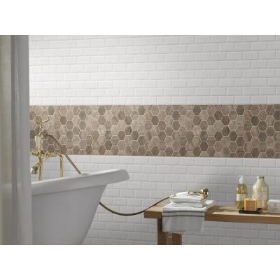 Driftwood Hexagon 12 in. x 12 in. x 6 mm Glossy Glass Mesh-Mounted Mosaic Tile (0.98 sq. ft.)