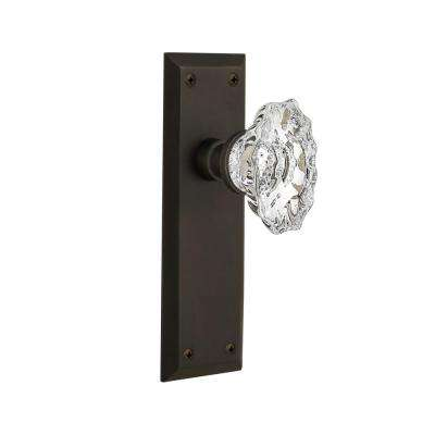 New York Plate 2-3/8 in. Backset Oil-Rubbed Bronze Passage Hall/Closet Chateau Door Knob