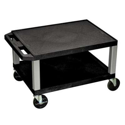WT 24 in. A/V Cart with Black Shelves and Nickel Colored Legs