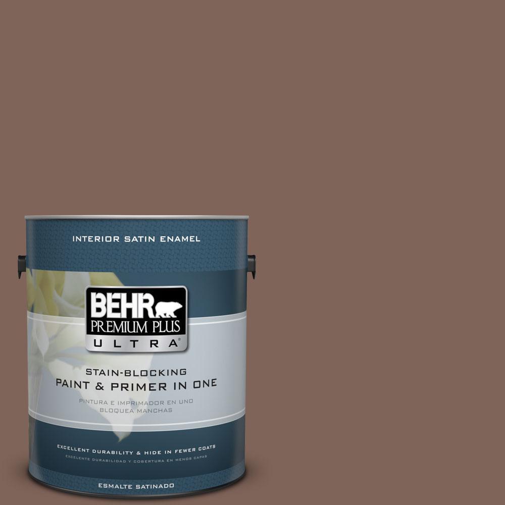 BEHR Premium Plus Ultra Home Decorators Collection 1-gal. #HDC-AC-05 Cocoa Shell Satin Enamel Interior Paint