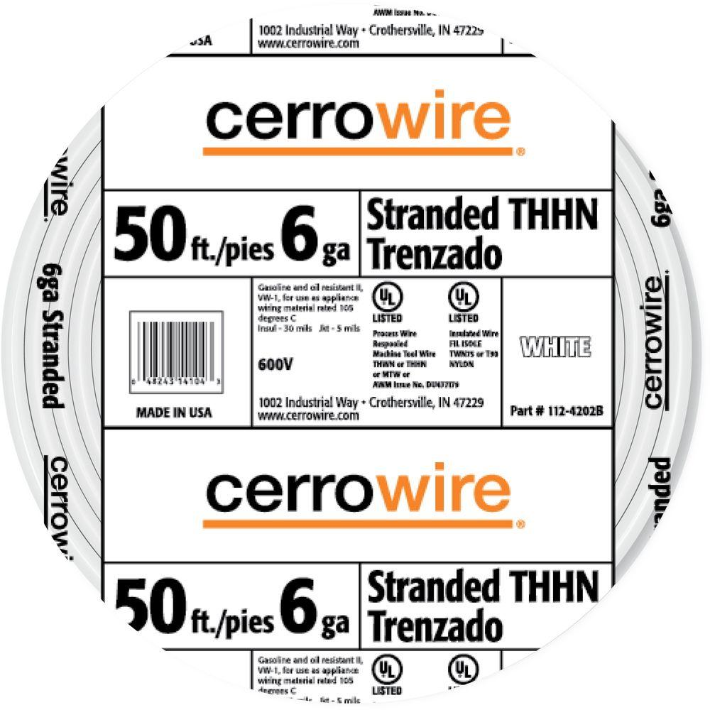 Cerrowire 50 ft. 6-Gauge White Stranded THHN Wire-112-4202BR ... on power gauge, jewelry wire gauge, stubs iron wire gauge, arduino gauge, alternator gauge, needle gauge comparison chart, filter gauge, standard wire gauge, oil gauge, number 8 wire, wire gauge, paint gauge,