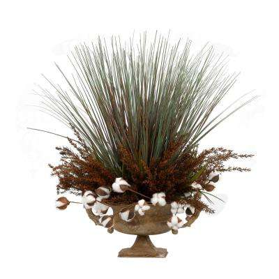 Indoor Tall onion Grass and Cotton Ball Brnaches in Metal Urn