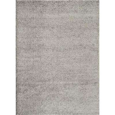 Soft Cozy Solid Light Gray 5 ft. 3 in. x 7 ft. 3 in. Indoor Shag Area Rug