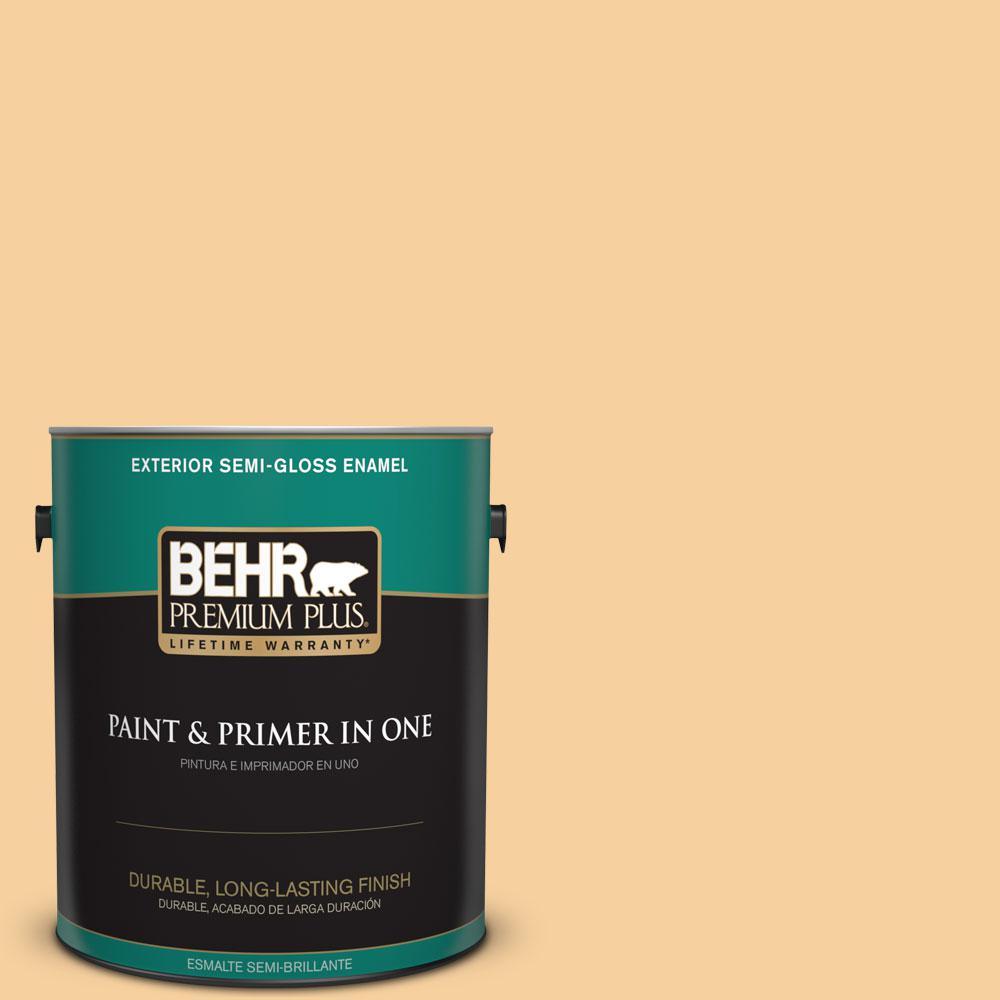 1-gal. #320C-3 Honey Butter Semi-Gloss Enamel Exterior Paint
