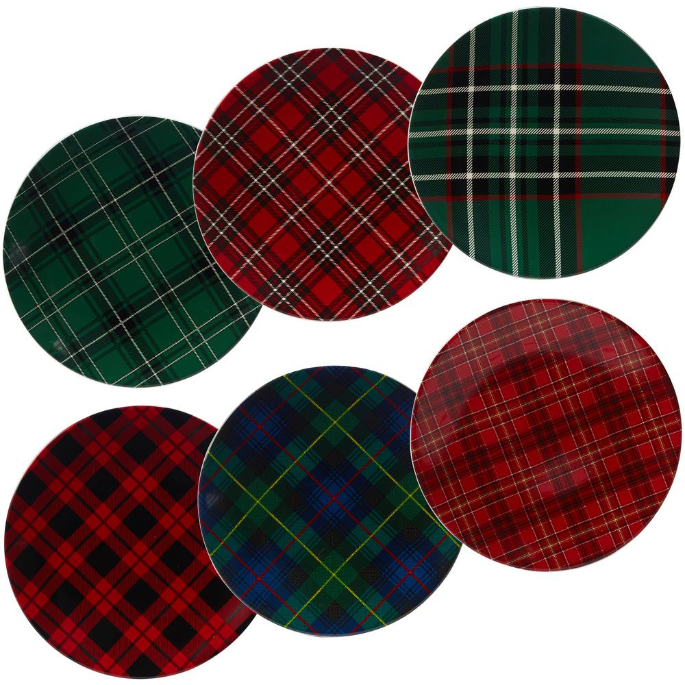 Certified International Certified International Christmas Plaid 10.75 in. Dinner Plate (Set of 6), Assorted Colors