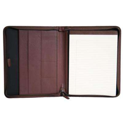 Executive Convertible Zippered Writing Portfolio Organizer, Genuine Leather, Burgundy