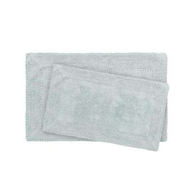 17 in. x 24 in. and 20 in. x 32 in. Aqua Ruffle Cotton Bath Rug Set (2-Piece)