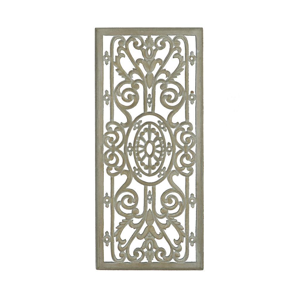 Avita Beige Hand Carved Wooden Panel