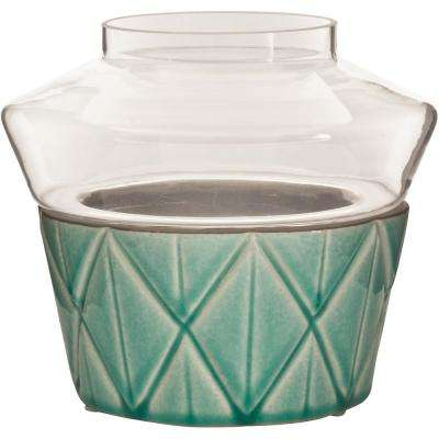Vidro 7 in. W x 7 in. H Glass Votive Terrarium with  Teal Ceramic Dish