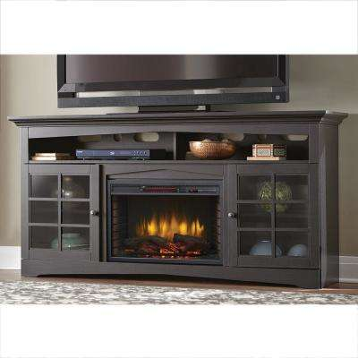 Avondale Grove 70 in. TV Stand Infrared Electric Fireplace in Aged Black