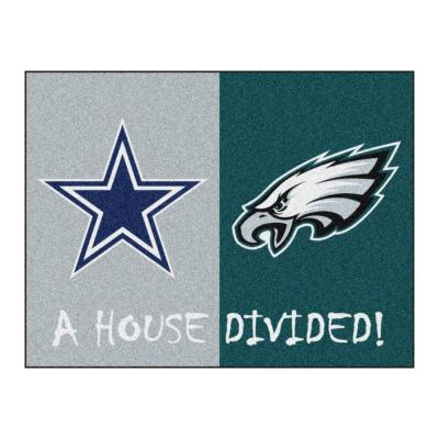 NFL Cowboys / Eagles Gray House Divided 3 ft. x 4 ft. Area Rug