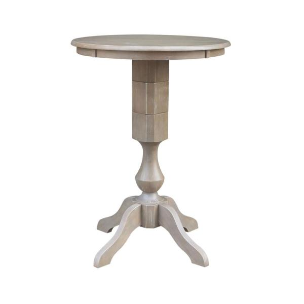 Sophia 30 in. Round Weathered Taupe Gray Solid Wood Bar Table