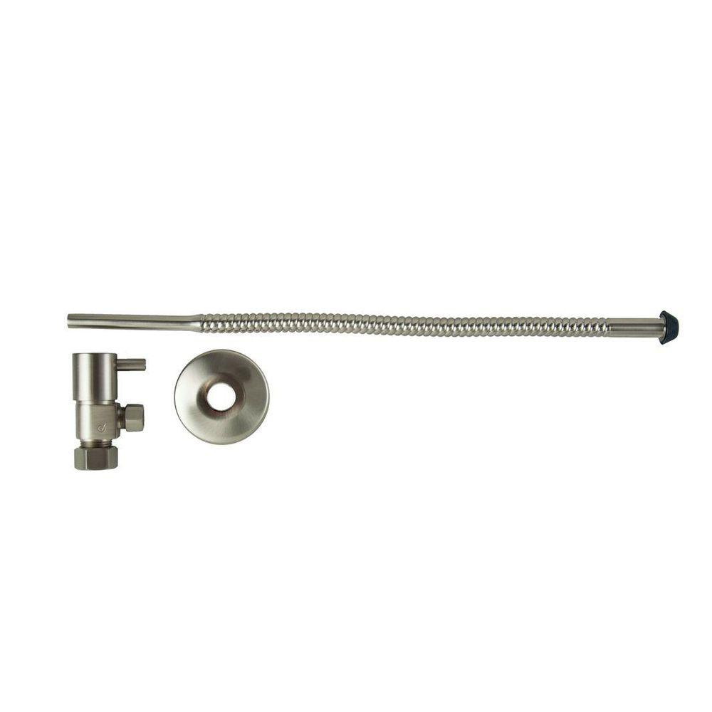 3/8 in. O.D x 15 in. Copper Corrugated Toilet Supply Lines with Lever Handle Shutoff Valves in Brushed Nickel