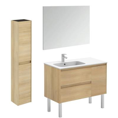 Ambra 35.6 in. W x 18.1 in. D x 32.9 in. H Bathroom Vanity Unit in Nordic Oak with Mirror and Column