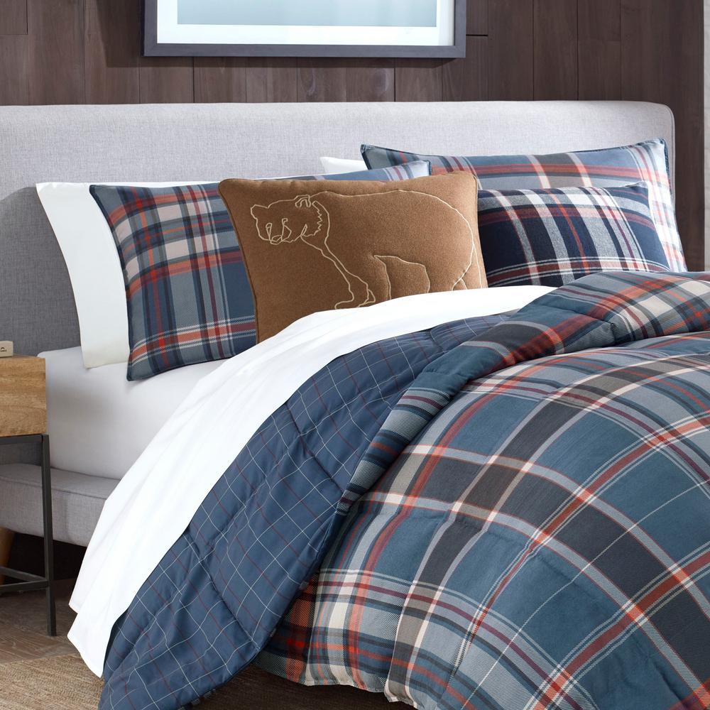 Shasta Lake Blue Plaid Comforter Set