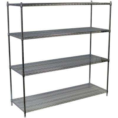 86 in. H x 72 in. W x 24 in. D 4-Shelf Steel Wire Shelving Unit in Chrome