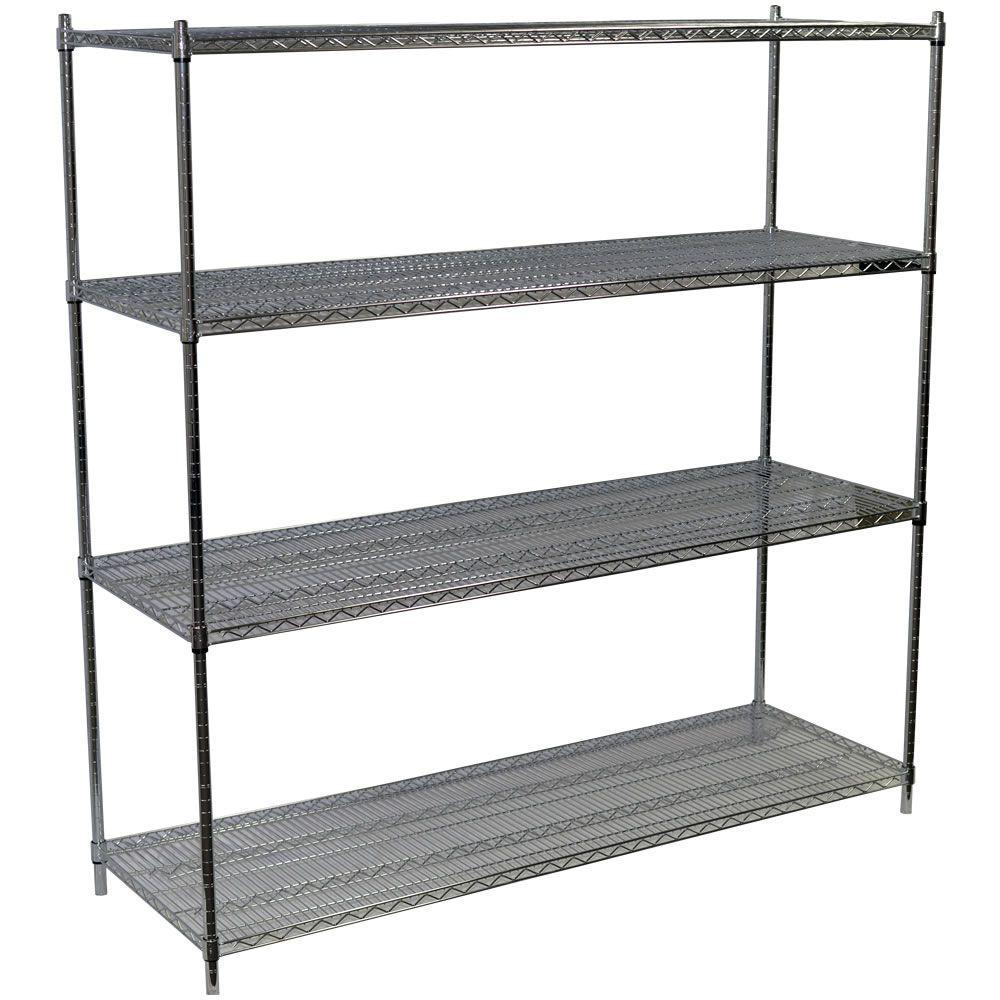 86 in. H x 72 in. W x 24 in. D 4-Shelf Steel Wire Shelving Unit in Chrome