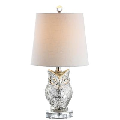 Night Owl 19 in. Silver/Ivory Glass/Crystal LED Table Lamp
