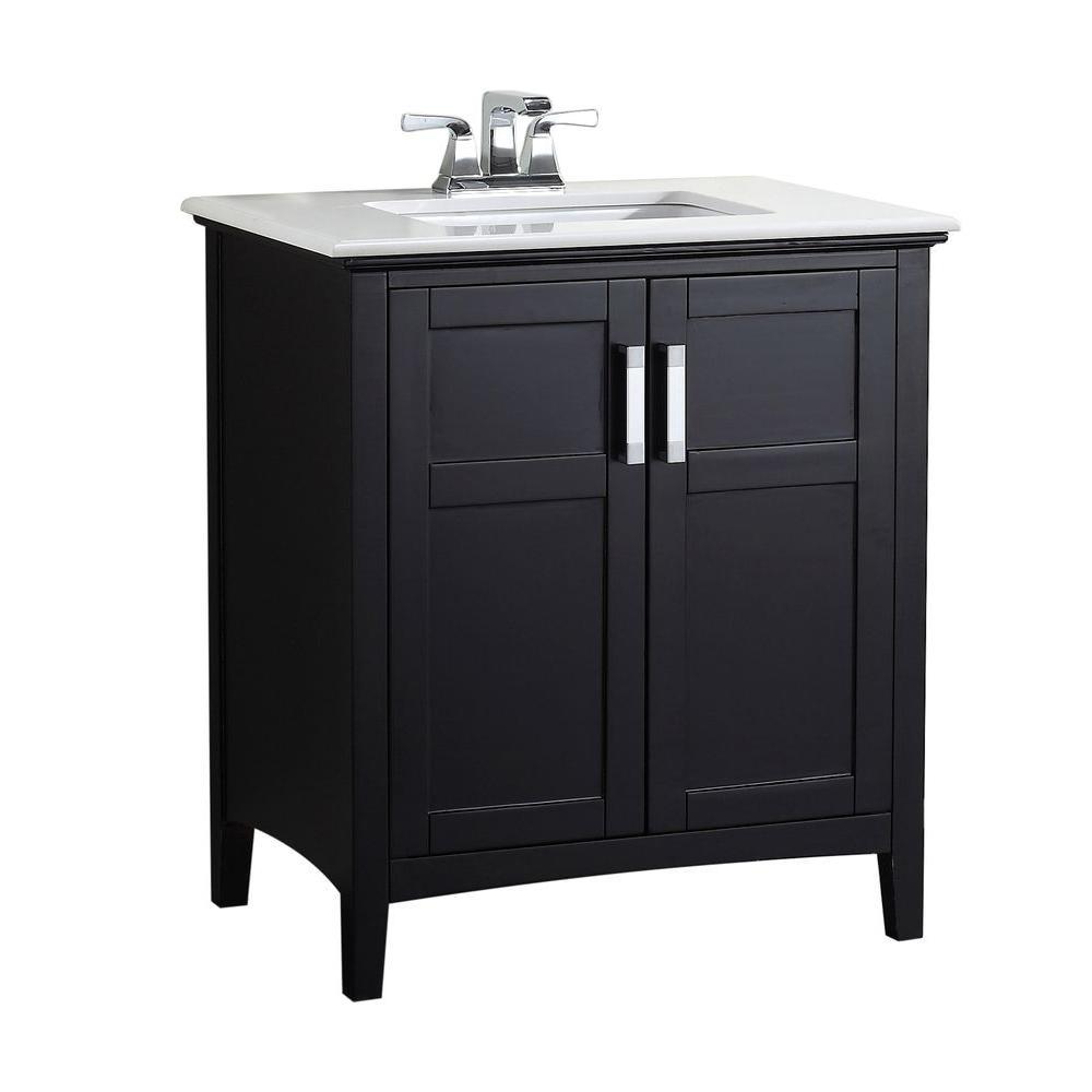 Winston 30 in. Bath Vanity in Black with Quartz Marble Vanity Top in Bombay White with White Basin