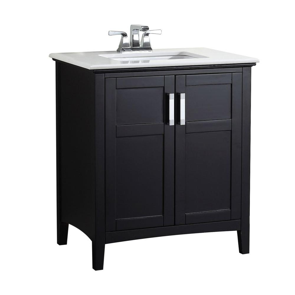 black bathroom vanity with white marble top simpli home winston 30 in vanity in black with quartz 25985