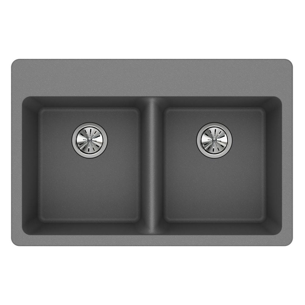 Quartz Classic Drop-In Composite 33 in. Double Basin Kitchen Sink in Greystone