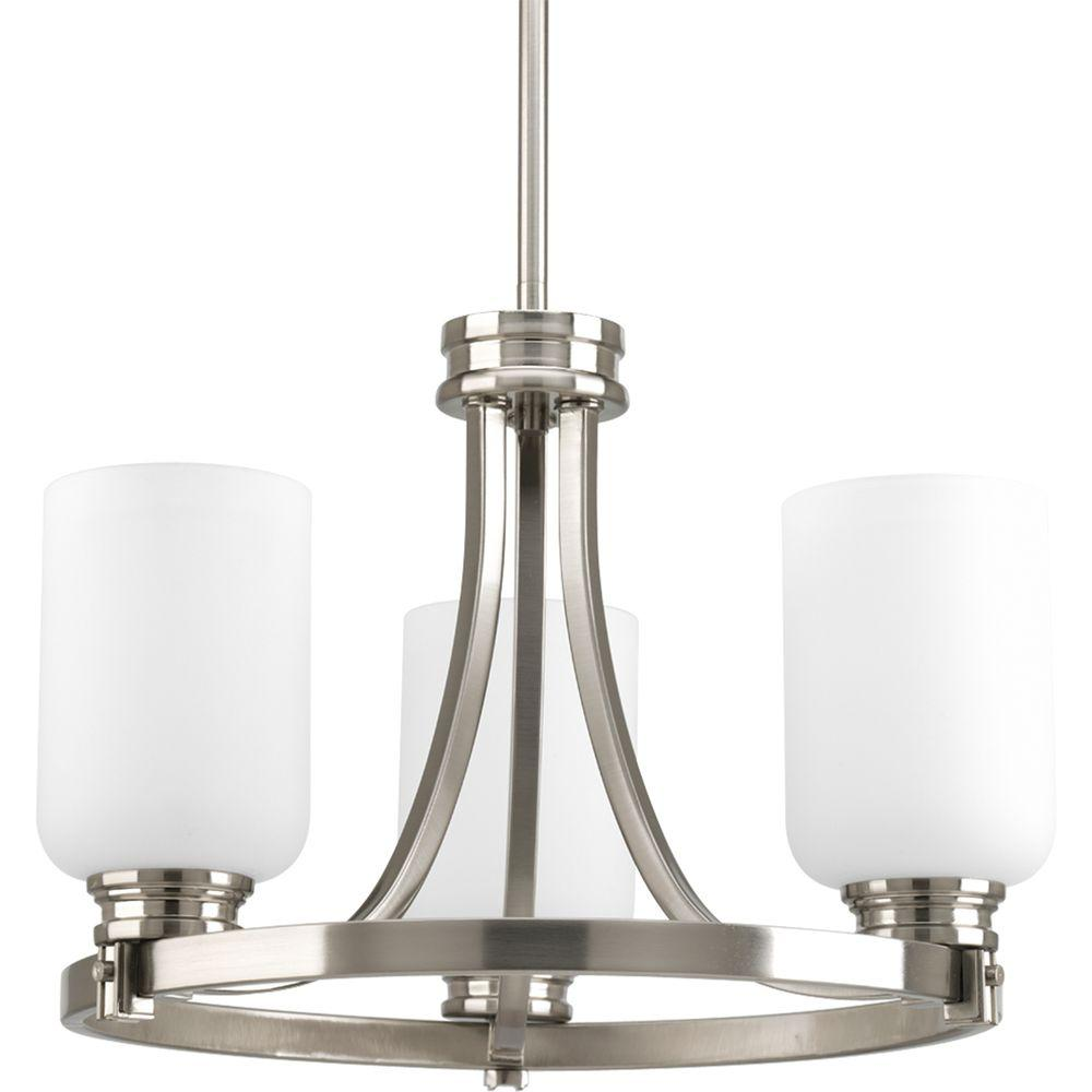 Progress Lighting Orbit Collection Brushed Nickel 3 Light Semi Flushmount