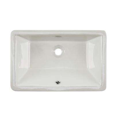 Rectangular Glazed Ceramic Undermount Bathroom Vanity Sink in Biscuit