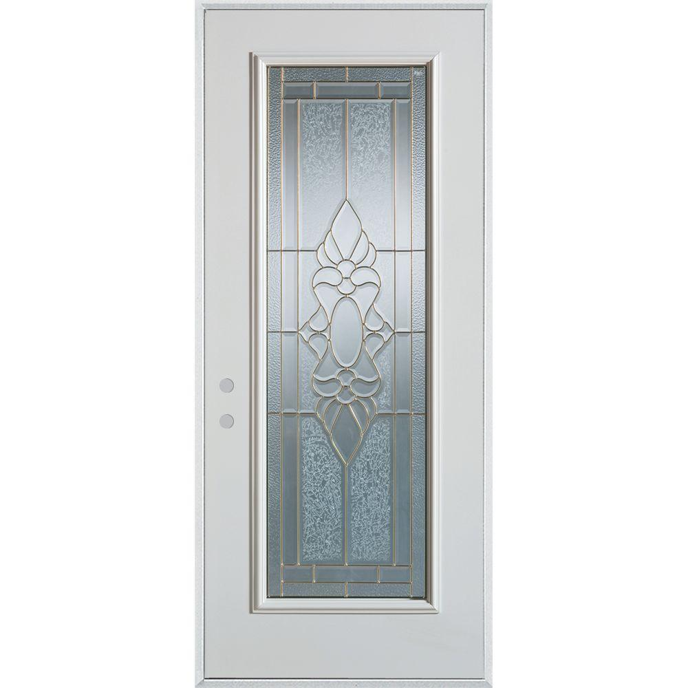 Stanley Doors 32 in. x 80 in. Traditional Brass Full Lite Painted White Right-Hand Inswing Steel Prehung Front Door