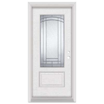 36 in. x 80 in. Chatham Left-Hand 3/4 Lite Patina Finished Fiberglass Oak Woodgrain Prehung Front Door