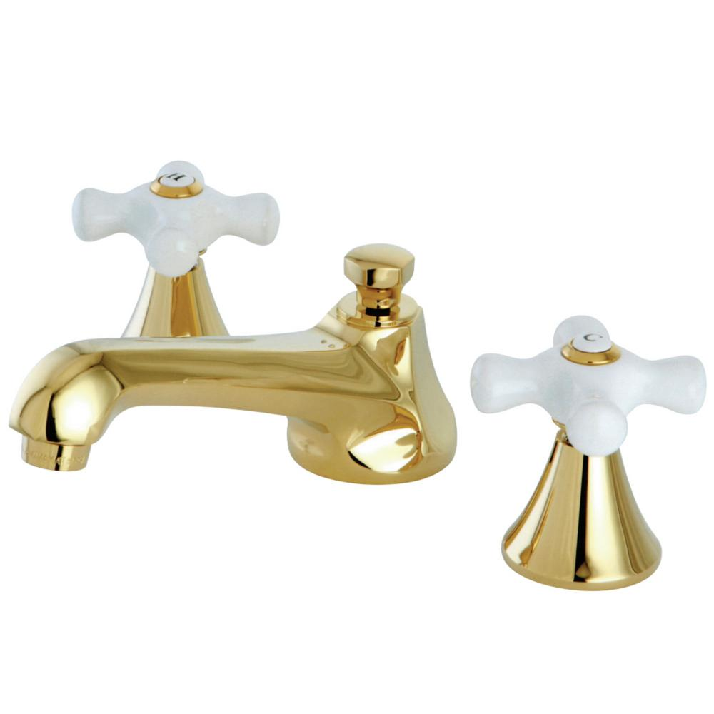 Kingston Brass Modern 8 In. Widespread 2-Handle Bathroom Faucet In Polished Brass-HKS4472PX
