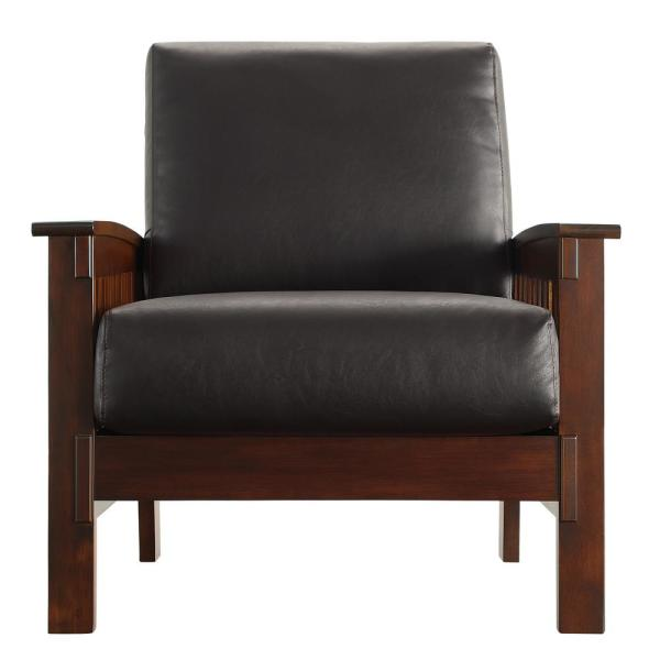 HomeSullivan Mission-Inspired Dark Brown Vinyl Arm Chair