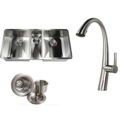 Undermount Deep Stainless Steel 42 in. x 20 in. x 10 in. 6-Gauge 40/20/40 Zero Radius Triple Bowl Kitchen Sink w/ Faucet