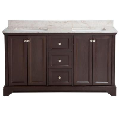 Stratfield 61 in. W x 22 in. D Bathroom Vanity in Chocolate with Stone Effect Vanity Top in Dune with White Sink