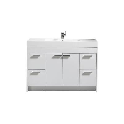 Lugano 48 in. W x 19 in. D x 34 in. H Vanity in White with Acrylic Top in White with White Basin