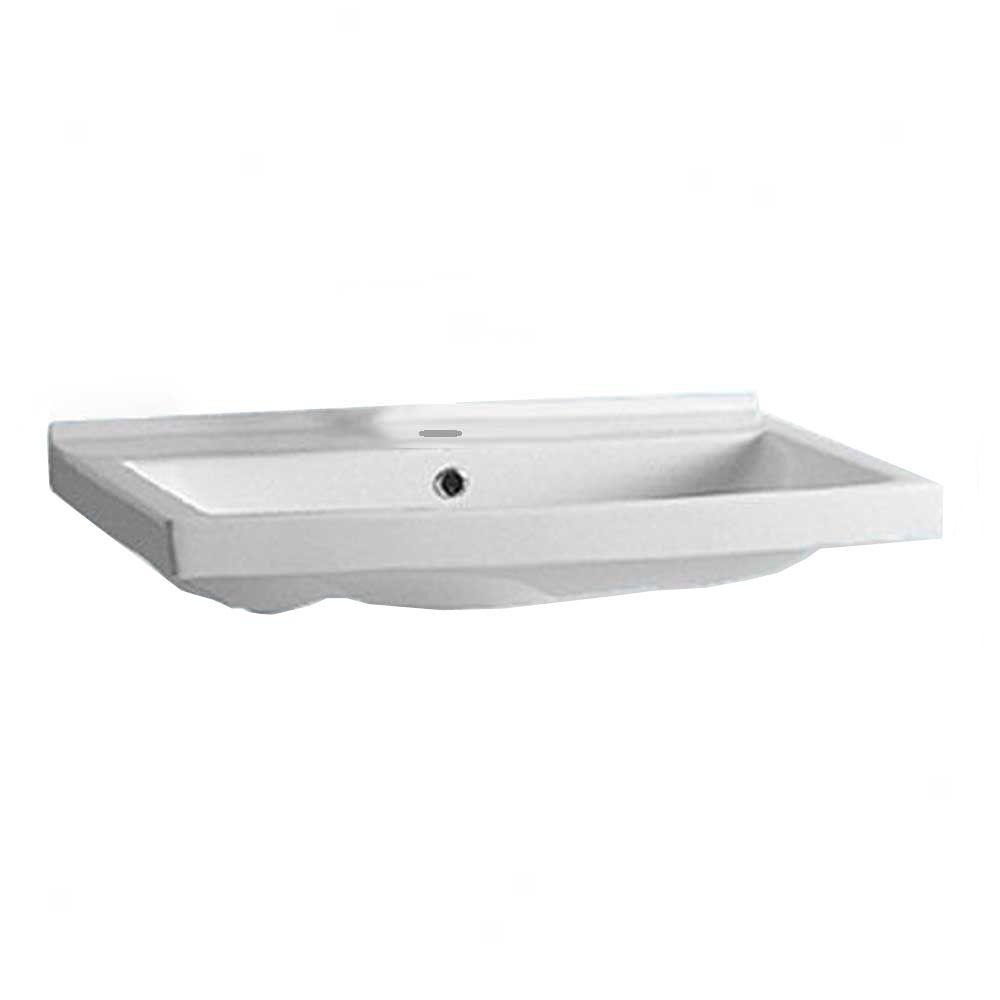 Whitehaus Collection China Series Wall-Mounted Bathroom Sink in White