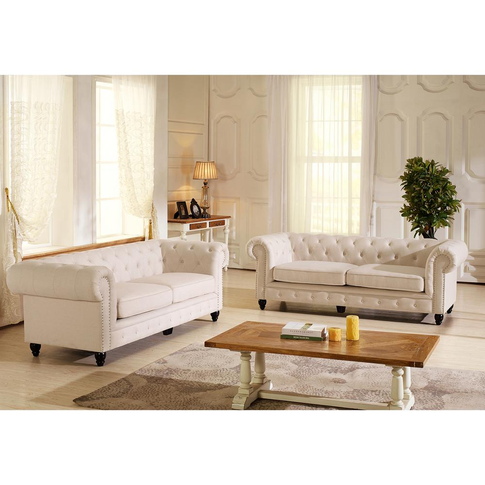 Baxton Studio Cassandra Traditional Beige Fabric Upholstered Sofa