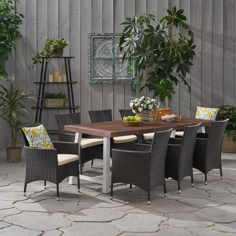 Flamingo 30 in. Dark Brown 9-Piece Metal Rectangular Outdoor Dining Set with Beige Cushions